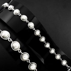 925 sterling silver 22.36cts natural white pearl round tennis bracelet p89150