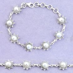 925 sterling silver 10.68cts natural white pearl tennis bracelet jewelry p65158