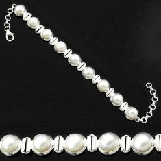 925 sterling silver 32.79cts natural white pearl tennis bracelet p81478