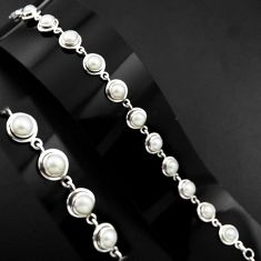 925 sterling silver 22.07cts natural white pearl tennis bracelet p89148