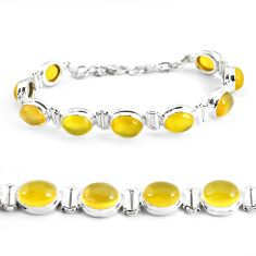 925 sterling silver 37.43cts natural yellow opal oval tennis bracelet p48149