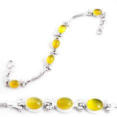 925 sterling silver 19.07cts natural yellow opal tennis bracelet jewelry p54694