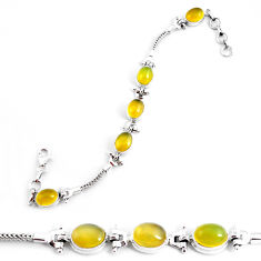 925 sterling silver 19.45cts natural yellow opal tennis bracelet jewelry p54698