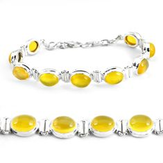925 sterling silver 36.67cts natural yellow opal tennis bracelet p48156