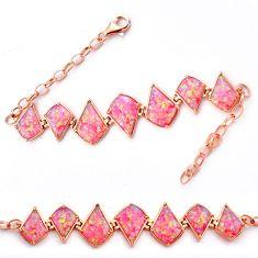925 sterling silver 18.22cts pink australian fire opal bracelet jewelry c4645