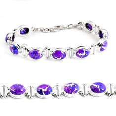 925 sterling silver 33.99cts purple copper turquoise tennis bracelet p48133