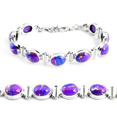 925 sterling silver 34.24cts purple copper turquoise tennis bracelet p48136