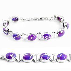 925 sterling silver 35.78cts purple copper turquoise tennis bracelet p48139
