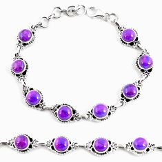 925 sterling silver 17.80cts purple copper turquoise tennis bracelet p65124