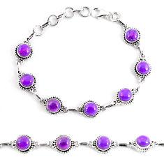 925 sterling silver 17.33cts purple copper turquoise tennis bracelet p65130