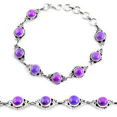 925 sterling silver 15.46cts purple copper turquoise tennis bracelet p65134