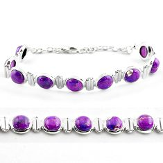 925 sterling silver 24.74cts purple copper turquoise tennis bracelet p81446