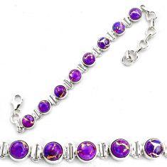 925 sterling silver 18.99cts purple copper turquoise tennis bracelet p87831