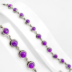 925 sterling silver 15.95cts purple copper turquoise tennis bracelet p89135