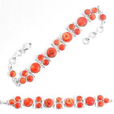 925 sterling silver 28.87cts red copper turquoise tennis bracelet p48198