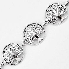 925 sterling silver round tree of life family link bracelet jewelry h54065