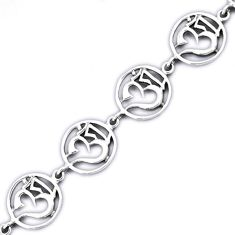 925 sterling silver symbol of god om link bracelet jewelry h54076