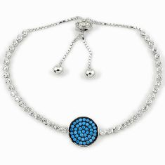 925 sterling silver adjustable blue turquoise topaz bracelet jewelry a34817