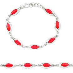 Red coral enamel 925 sterling silver tennis bracelet jewelry a46045