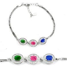 925 sterling silver natural blue sapphire emerald ruby tennis bracelet a51692