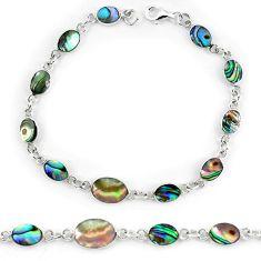 Green abalone paua seashell enamel 925 silver tennis bracelet jewelry a56027