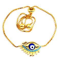 925 silver blue evil eye talismans turquoise 14k gold adjustable bracelet a58748