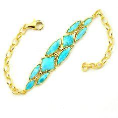 Natural blue larimar 925 sterling silver 14k gold bracelet jewelry a63389