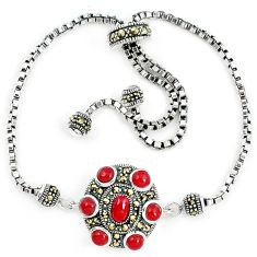 Natural honey onyx marcasite 925 sterling silver adjustable bracelet a64977