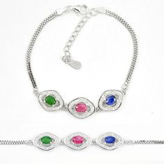 Natural red ruby emerald 925 sterling silver tennis bracelet jewelry a74489