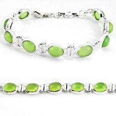 Natural green prehnite oval 925 sterling silver tennis bracelet jewelry b4523