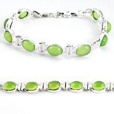 Natural green prehnite 925 sterling silver tennis bracelet jewelry b4540