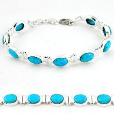Natural blue magnesite 925 sterling silver tennis bracelet jewelry b4701