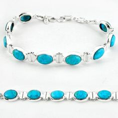 Natural blue magnesite 925 sterling silver tennis bracelet jewelry b4702