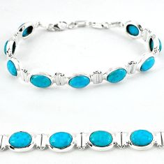 Natural blue magnesite 925 sterling silver tennis bracelet jewelry b4704