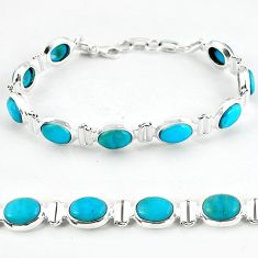 Natural blue magnesite oval 925 sterling silver tennis bracelet jewelry b4705