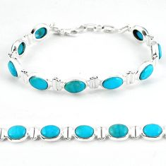 Natural blue magnesite 925 sterling silver tennis bracelet jewelry b4706