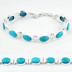 Natural blue magnesite 925 sterling silver tennis bracelet jewelry b4709