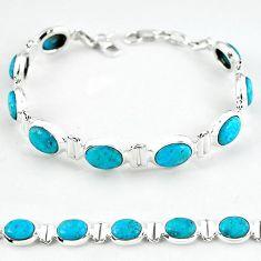 Natural blue magnesite 925 sterling silver tennis bracelet jewelry b4710