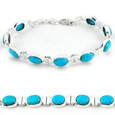 Natural blue magnesite 925 sterling silver tennis bracelet jewelry b4714