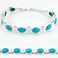 Natural blue magnesite oval 925 sterling silver tennis bracelet jewelry b4715