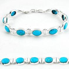 Natural blue magnesite 925 sterling silver tennis bracelet jewelry b4717
