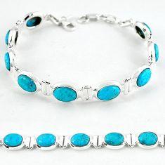Natural blue magnesite 925 sterling silver tennis bracelet jewelry b4718