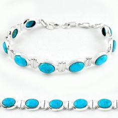 Natural blue magnesite 925 sterling silver tennis bracelet jewelry b4719