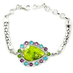 Natural yellow lizardite (meditation stone) topaz 925 silver bracelet d10347