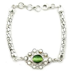 Clearance Sale- ver green cats eye white pearl bracelet jewelry d10349