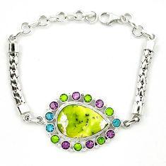 925 silver natural yellow lizardite (meditation stone) peridot bracelet d10351