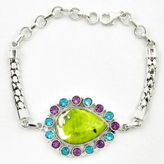Natural yellow lizardite (meditation stone) topaz 925 silver bracelet d10352