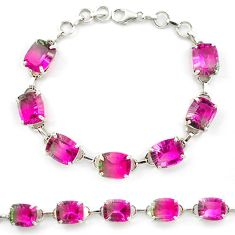 Watermelon tourmaline (lab) 925 sterling silver tennis bracelet jewelry d10367