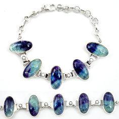 Natural multi color fluorite pearl 925 sterling silver tennis bracelet d13303