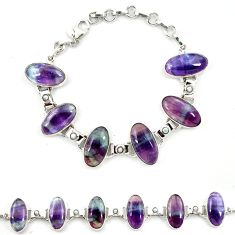 925 sterling silver natural multi color fluorite pearl tennis bracelet d13304